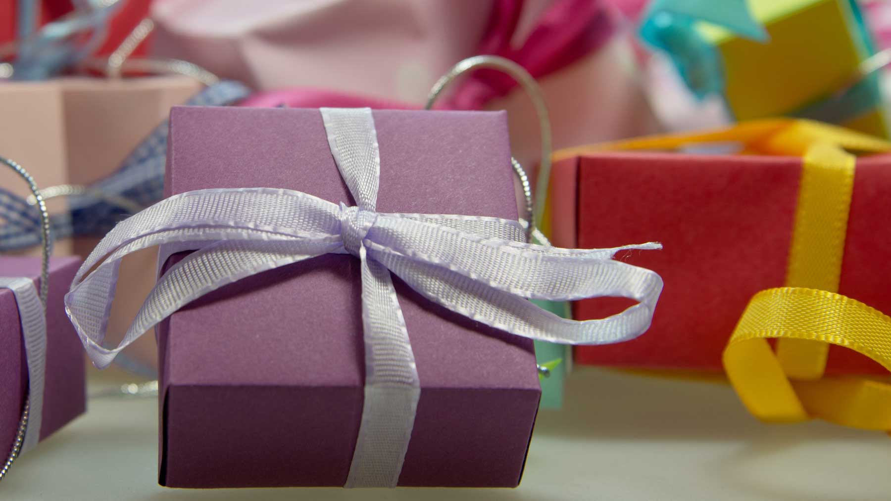 colourfully wrapped presents to represent giving