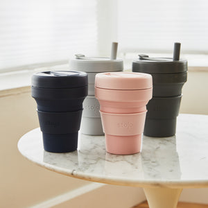 Stojo Large Collapsible Cup with Straw