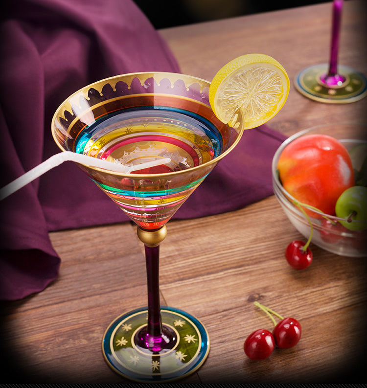 European Colorful Painted Wine Glasses | WhiskyWhiskey.co