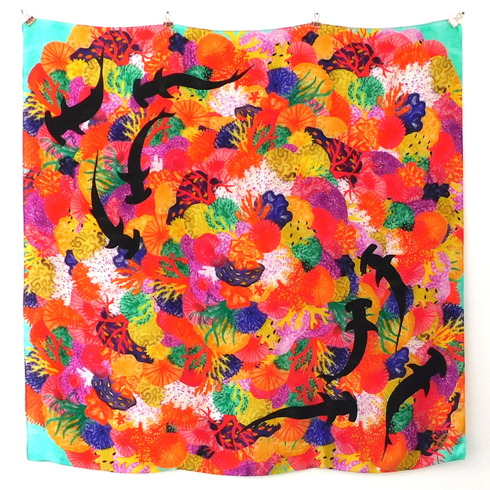 Anthozoa Coral Reef Print Silk Scarf