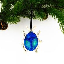 Load image into Gallery viewer, Coleoptera Blue Beetle Wooden Hanging Decoration