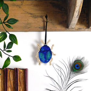 Coleoptera Blue Beetle Wooden Hanging Decoration