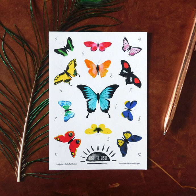 Lepidoptera Butterfly Print Eco Paper Sticker Sheet