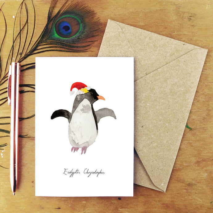 Waddle Macaroni Penguin Christmas Card