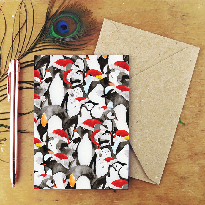 Waddle of Penguins Christmas Card
