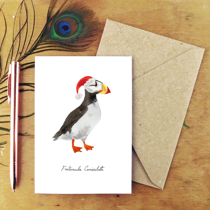 Improbability Horned Puffin Christmas Card