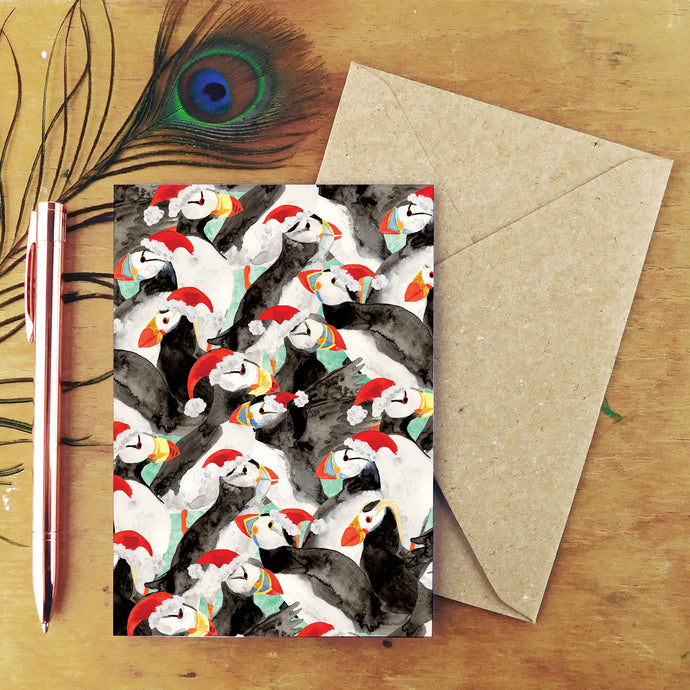 Improbability of Christmas Puffins Greetings Card