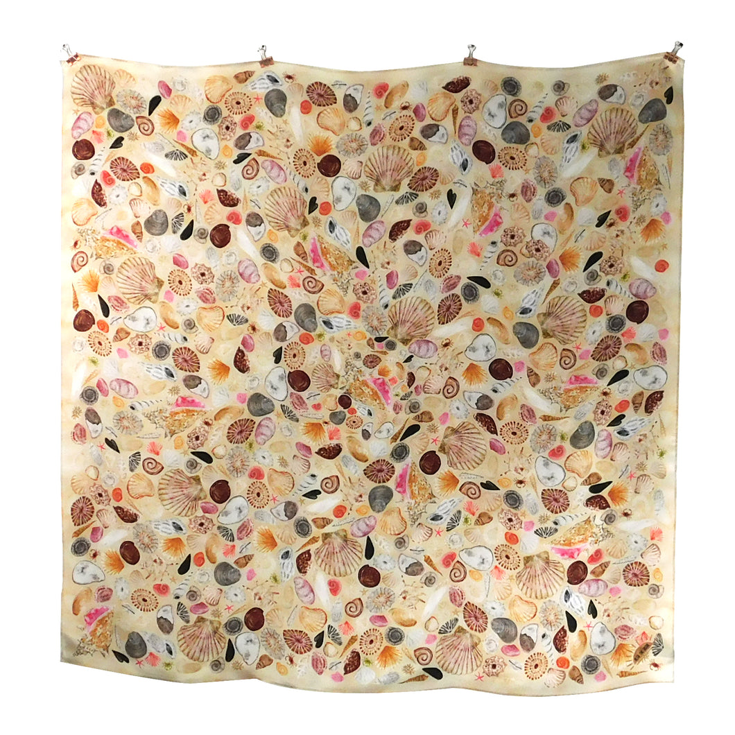 Conchae Sea Shell Print Silk Scarf