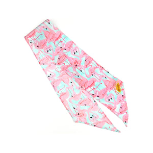 Flamboyance of Flamingos Print Silk Skinny Minnie
