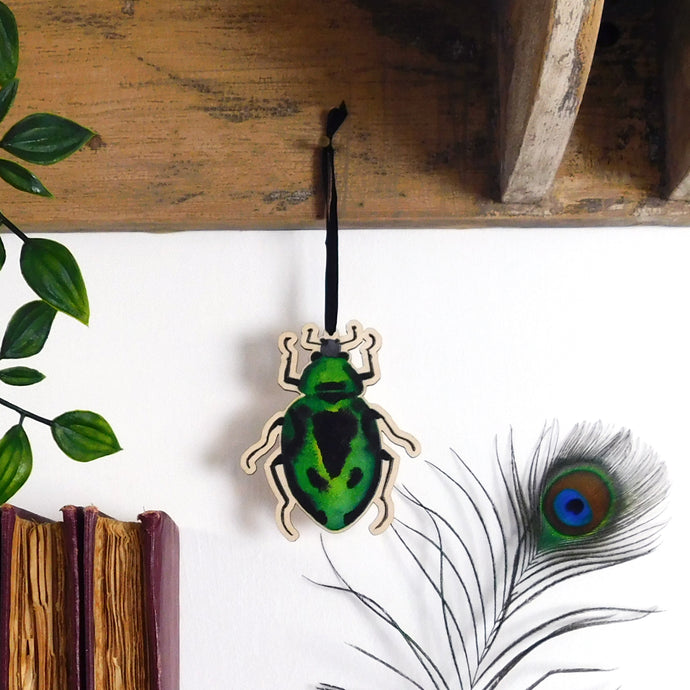 Coleoptera Green Beetle Wooden Hanging Decoration