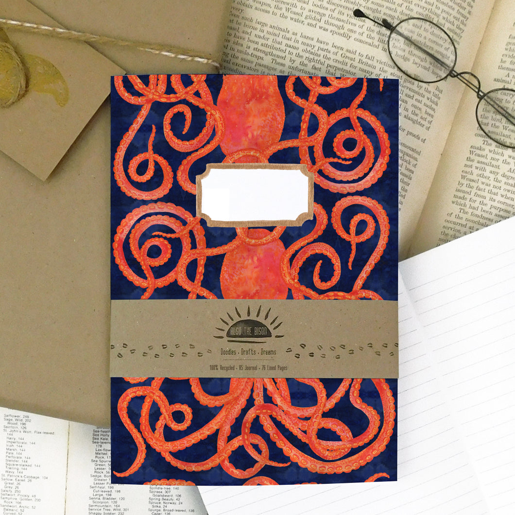 Octopoda Octopus Print Lined Journal