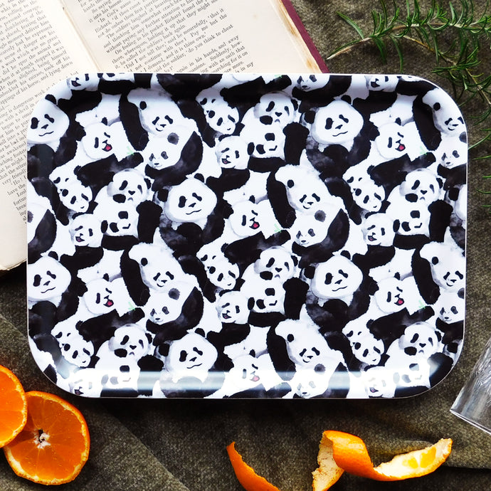 Embarrassment of Pandas Print Birch Wood Tray