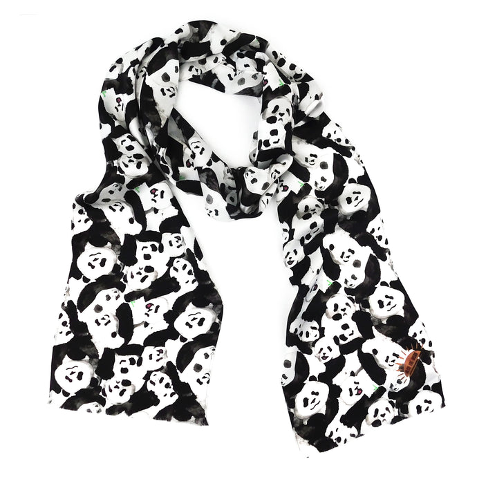 Embarrassment of Pandas Print Silk Amelia Aviator Scarf