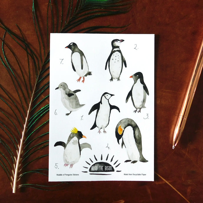 Waddle of Penguins Print Eco Paper Sticker Sheet