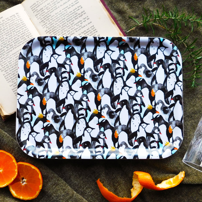 Waddle of Penguins Print Birch Wood Tray