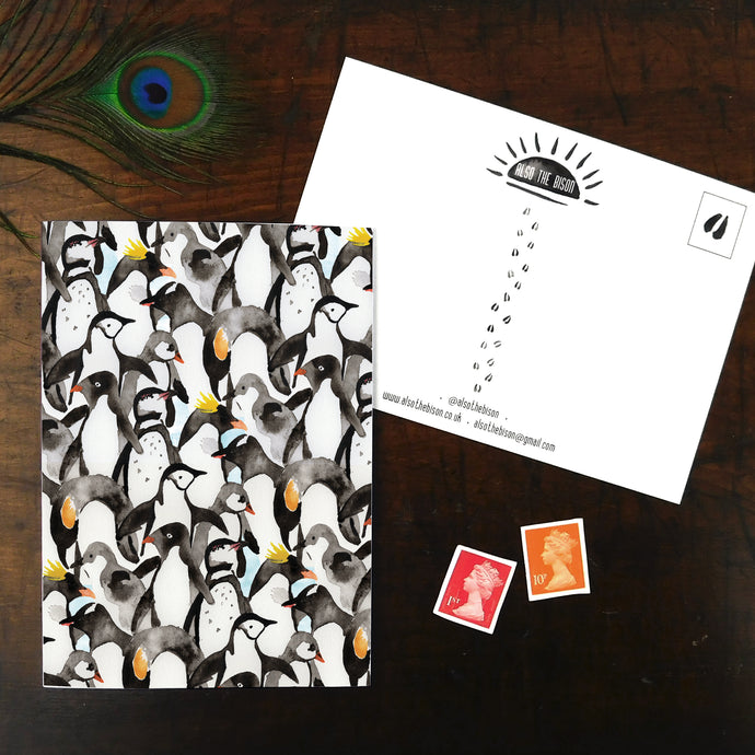 Waddle of Penguins Print Postcard
