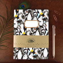Load image into Gallery viewer, Waddle of Penguins Print A5 Recycled Notebook