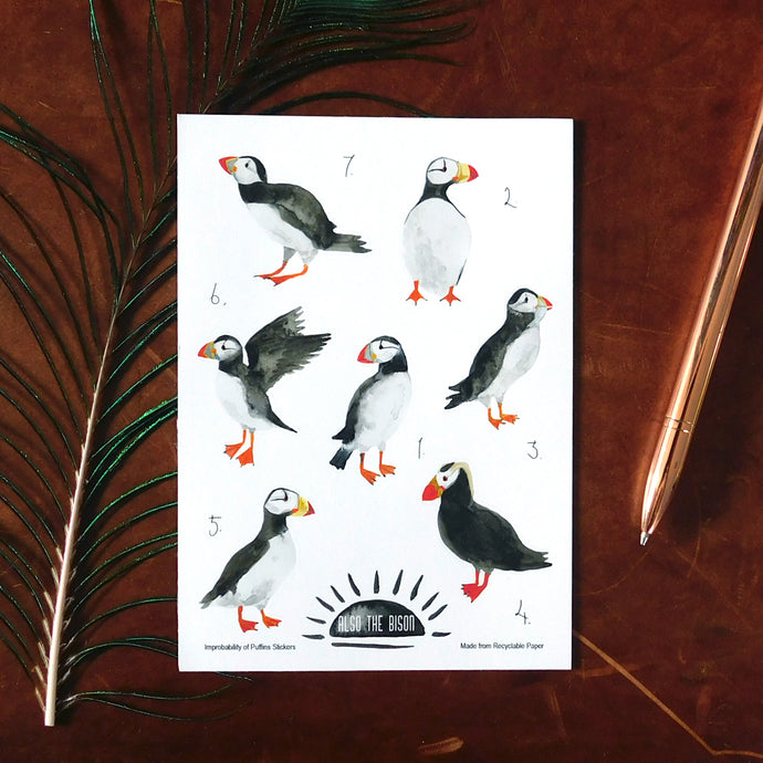 Improbability of Puffins Print Eco Paper Sticker Sheet