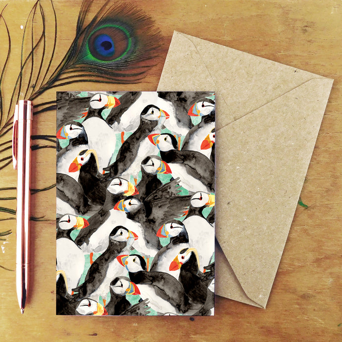 Improbability of Puffins Greetings Card