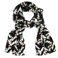 Load image into Gallery viewer, Improbability of Puffins Print Silk Amelia Aviator Scarf