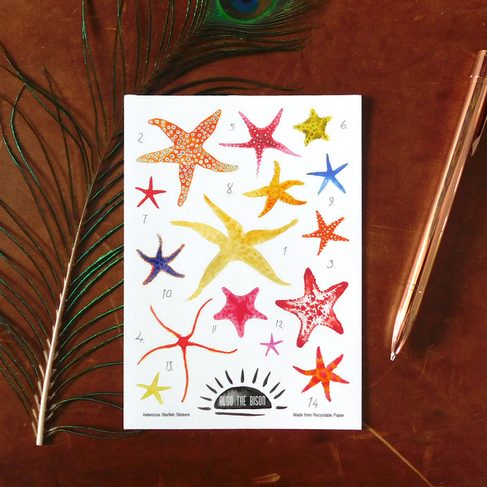 Asterozoa Starfish Print Eco Paper Sticker Sheet