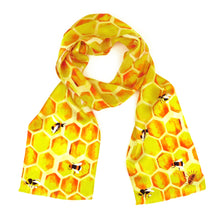 Load image into Gallery viewer, Mellifera Print Silk Amelia Aviator Scarf