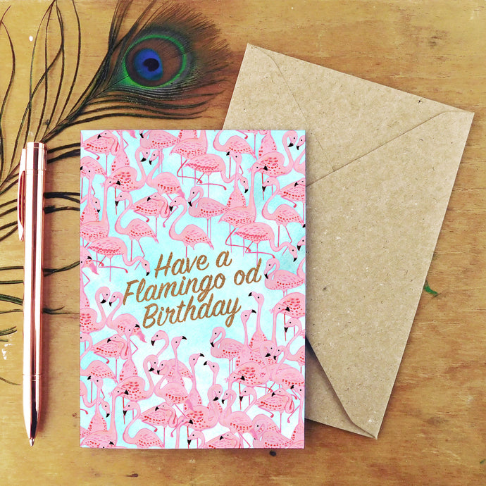 Flamboyance Flamingo od Birthday Greetings Card