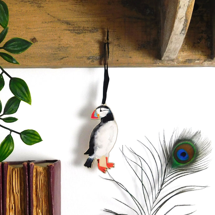 Improbability of Puffins Wooden Hanging Decoration