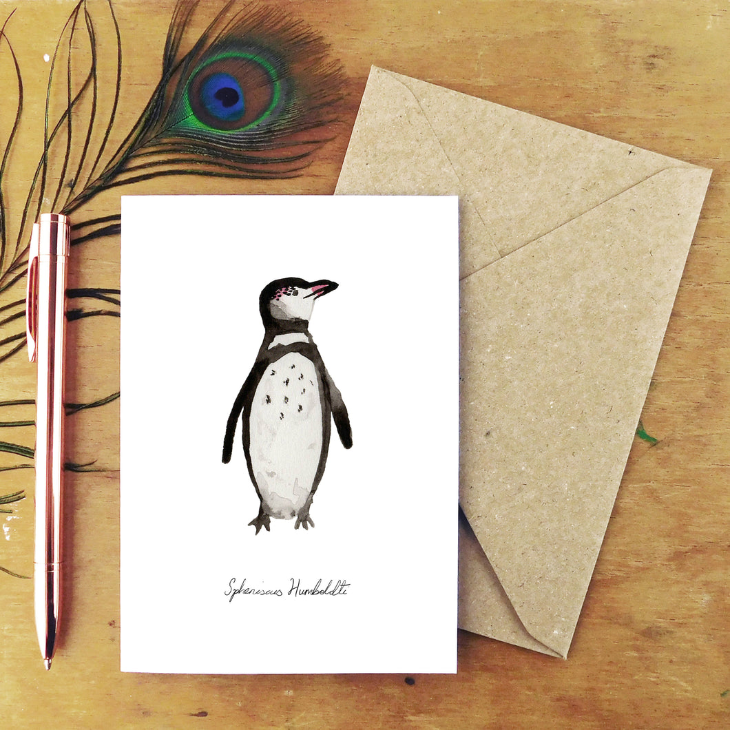 Waddle Humboldt Penguin Greetings Card