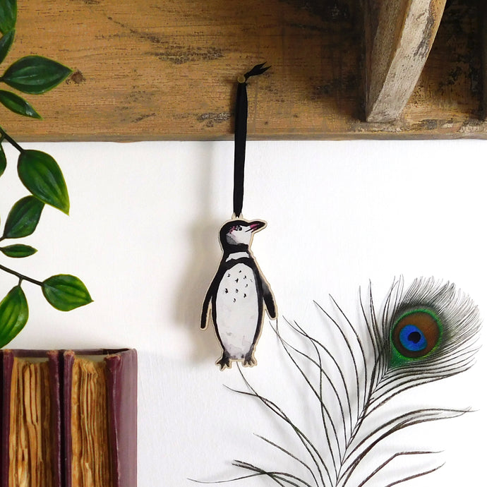Waddle Humboldt Penguin Wooden Hanging Decoration
