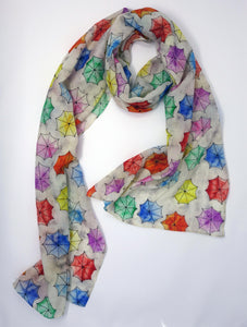 Rainy Day Print Fine Wool Scarf