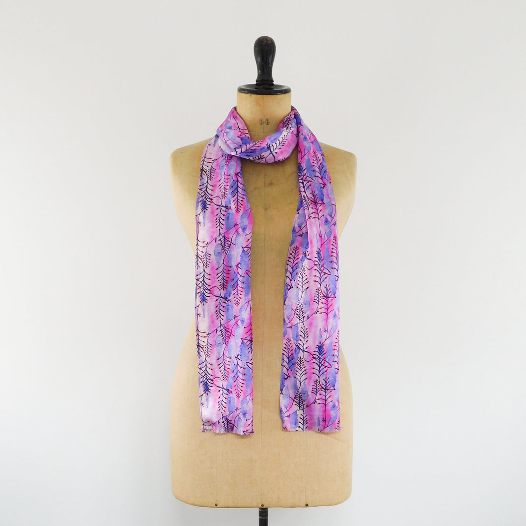 Sunset Pink Indian Clock Vine Print Silk Satin Amelia Aviator Scarf
