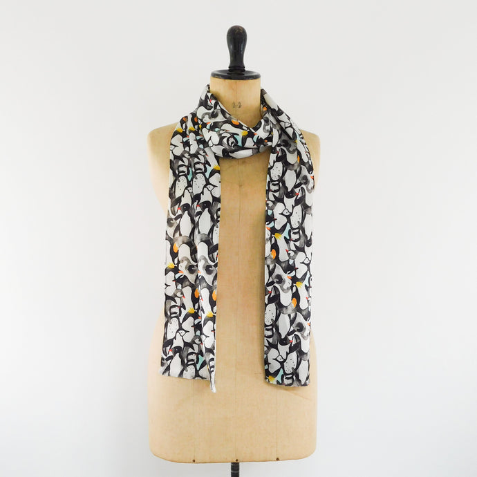 Waddle Print Silk Satin Amelia Aviator Scarf