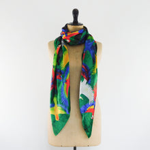 Load image into Gallery viewer, Psittacidae Parrot Print Silk Scarf