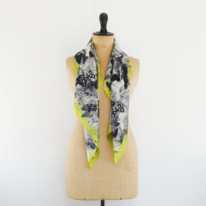 Archaeolepis Print Silk Satin Busy Lizzie Scarf