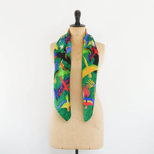 Psittacidae Parrot Print Silk Scarf