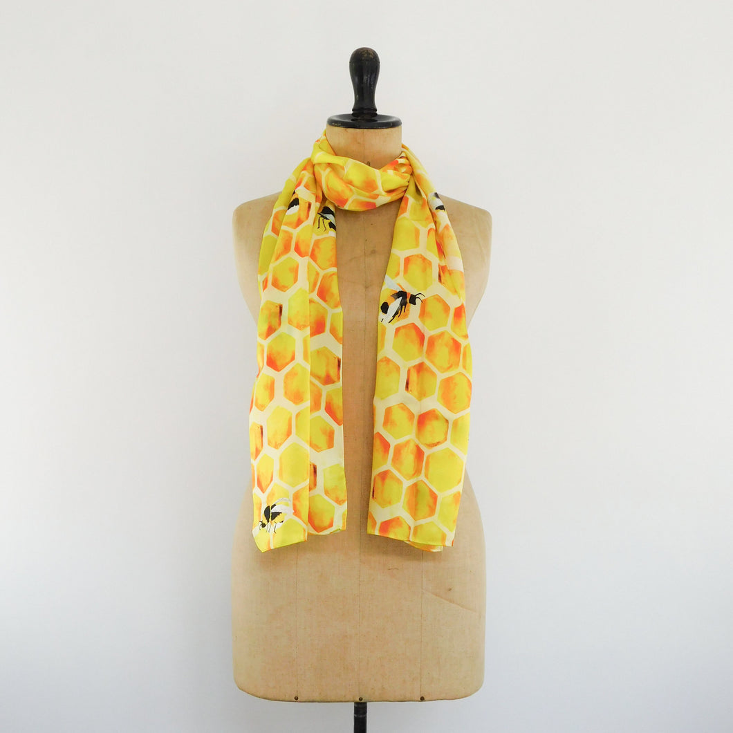 Honeybee Print Silk Scarf