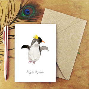 Waddle Macaroni Penguin Greetings Card