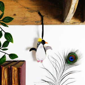 Waddle Macaroni Penguin Wooden Hanging Decoration
