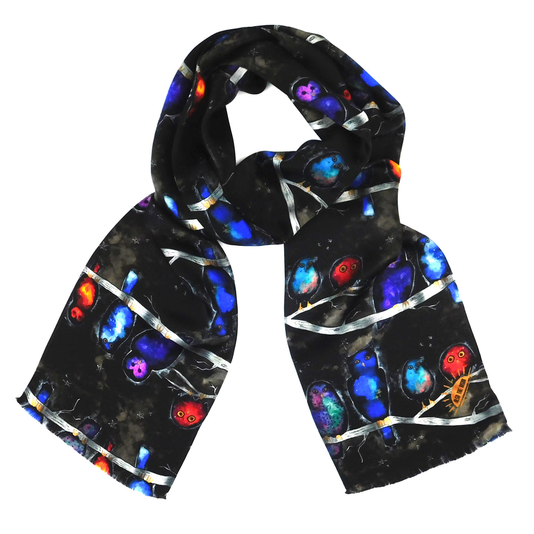 Night Owl Print Silk Amelia Aviator Scarf