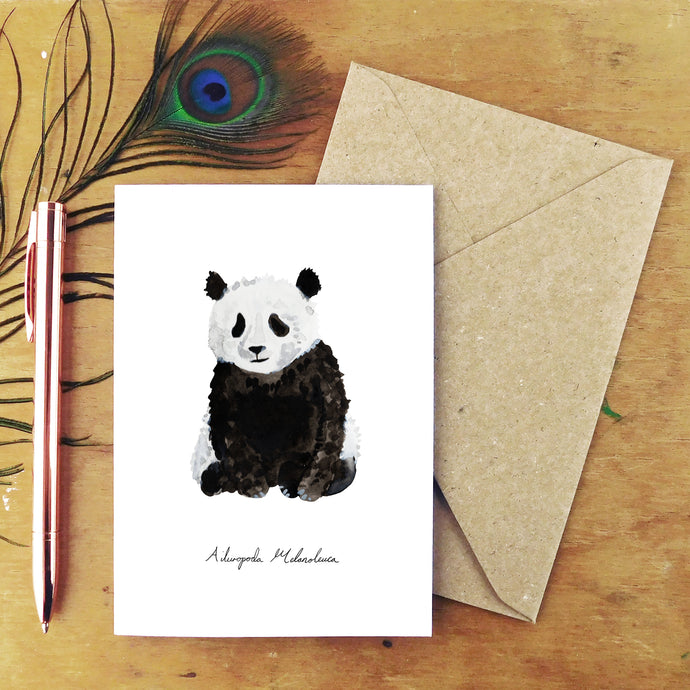 Embarrassment Giant Panda Greetings Card