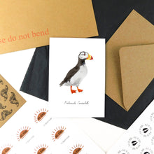 Load image into Gallery viewer, Improbability Horned Puffin Greetings Card
