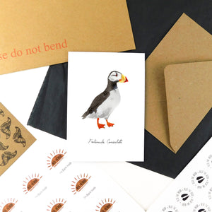 Improbability Horned Puffin Greetings Card