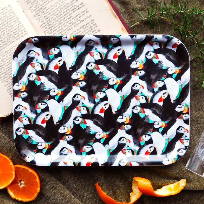 Improbability of Puffins Print Small Tray