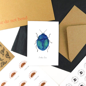 Coleoptera Scarab Beetle Greetings Card