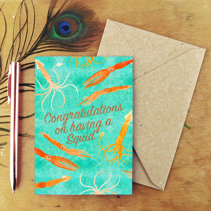 Congratulations on Having a Squid Greetings Card