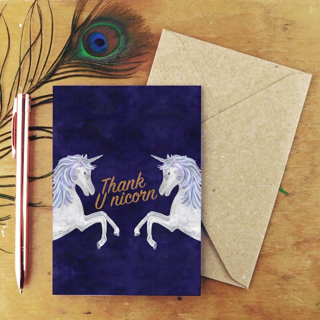 Thank Unicorn Greetings Card
