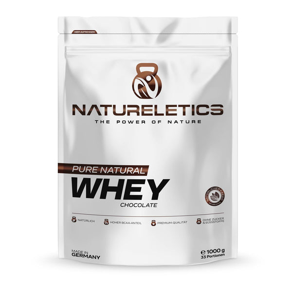 Natureletics Pure Natural Whey Chocolate, instantisiertes Premium Molkeprotein Konzentrat