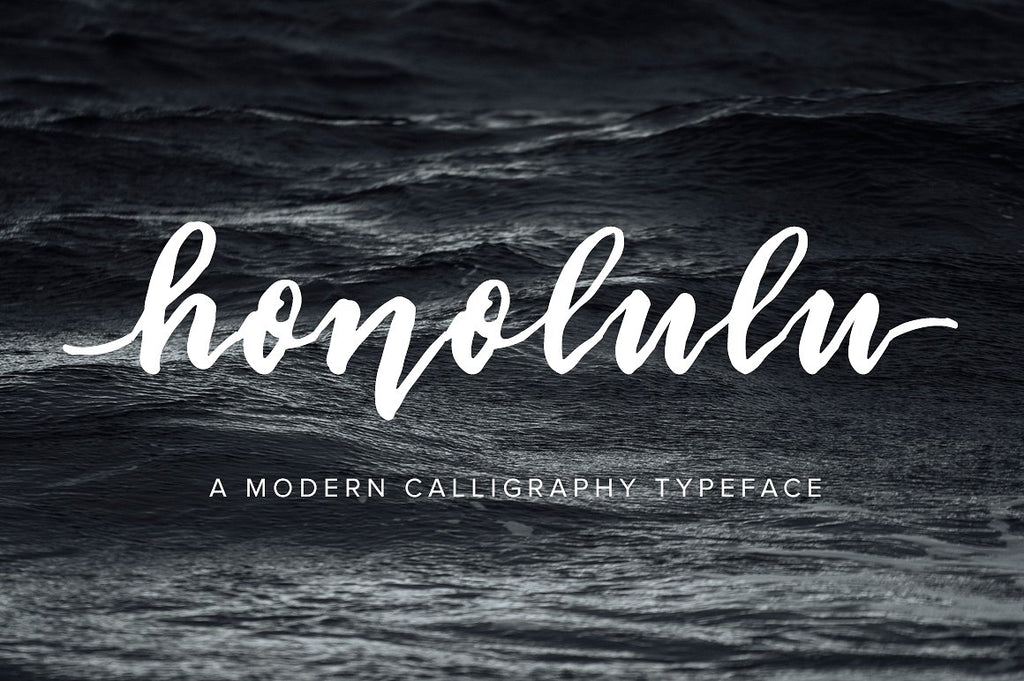 Honolulu brush pen script font typeface by Jen Wagner Co.