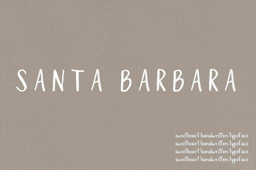 Santa Barbara Hand Made Font Typeface by Jen Wagner Co.